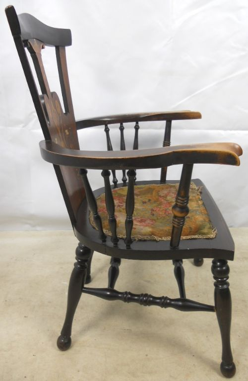 art nouveau inlaid mahogany armchair - photo angle #11