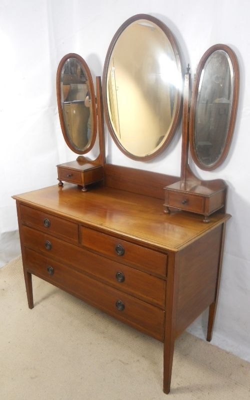 Edwardian Inlaid Mahogany Triple Mirror Dressing Table