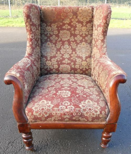 victorian mahogany framed upholstered wingback fireside armchair