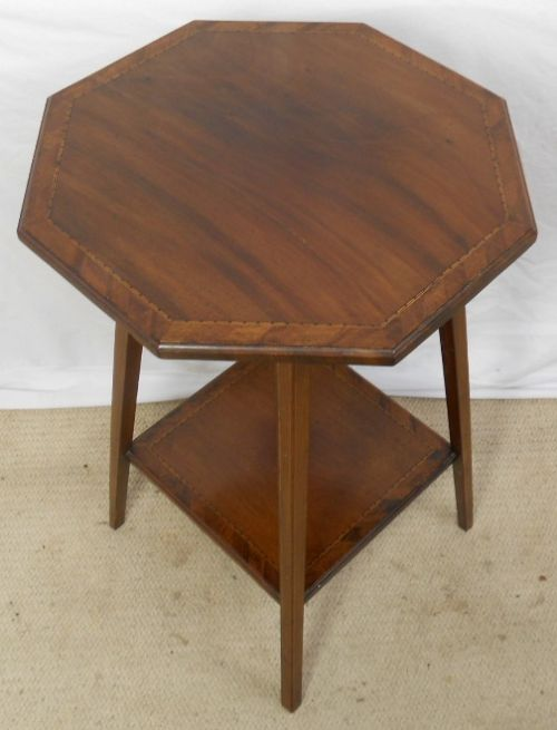 edwardian inlaid mahogany two tier octagonal occasional table