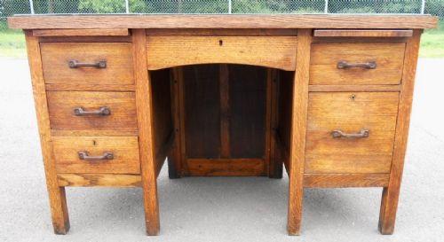 Ordinaire Edwardian Oak Kneehole Office Desk