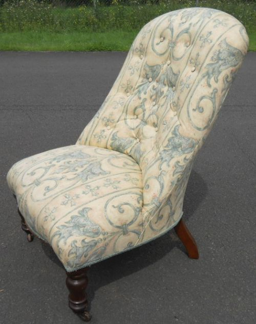 victorian upholstered nursing chair. antique photo - Victorian Upholstered Nursing Chair 292000 Sellingantiques.co.uk