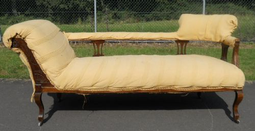 edwardian mahogany upholstered double end chaise longue settee : double ended chaise - Sectionals, Sofas & Couches