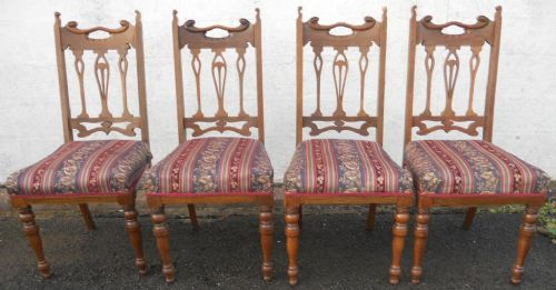 set of four art nouveau highback dining chairs 313322