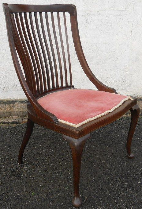 edwardian inlaid mahogany nursing chair