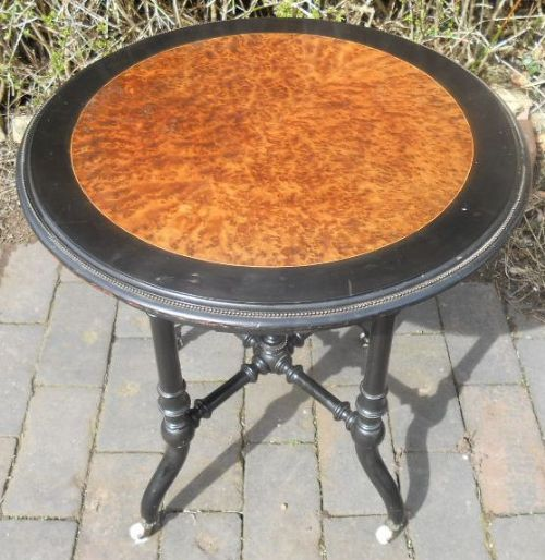 victorian ebonized aesthetic movement circular occasional table