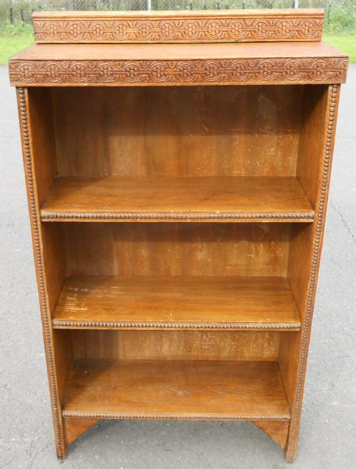 oak standing open bookcase