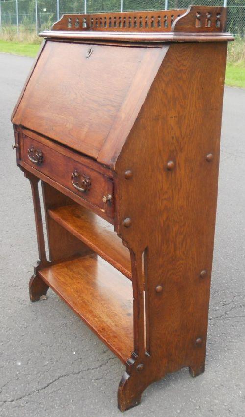 arts craft narrow oak writing bureau 491297. Black Bedroom Furniture Sets. Home Design Ideas
