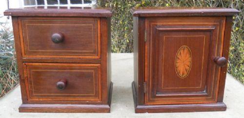 pair edwardian inlaid mahogany small cabinets