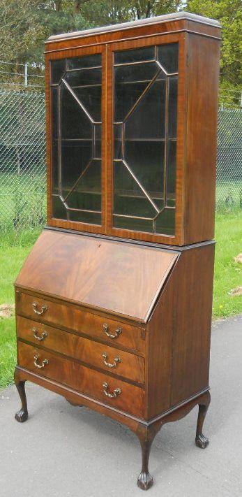 queen anne style mahogany bureau bookcase