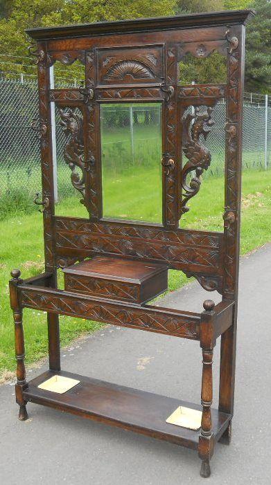victorian carved oak hallstand