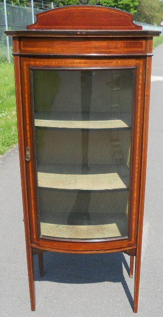 edwardian small inlaid mahogany china display cabinet