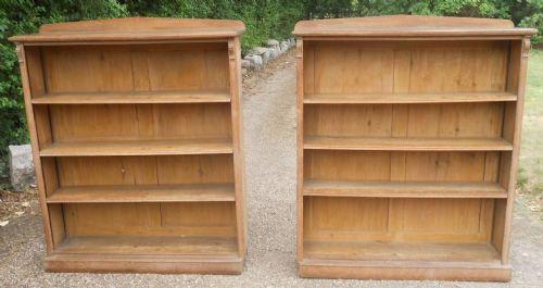 pair edwardian limed oak open bookcases