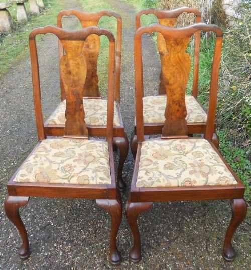 set of four walnut highback dining chairs