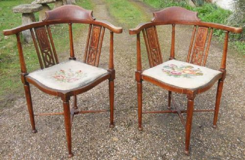pair edwardian inlaid mahogany corner armchairs