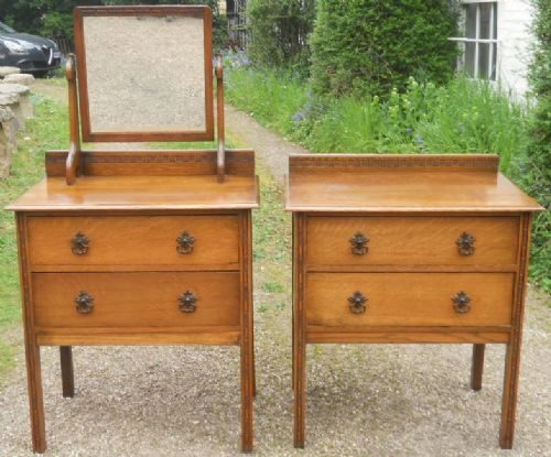 edwardian small oak dressing table chest of drawers