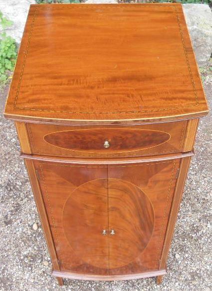 edwardian inlaid mahogany narrow cupboard