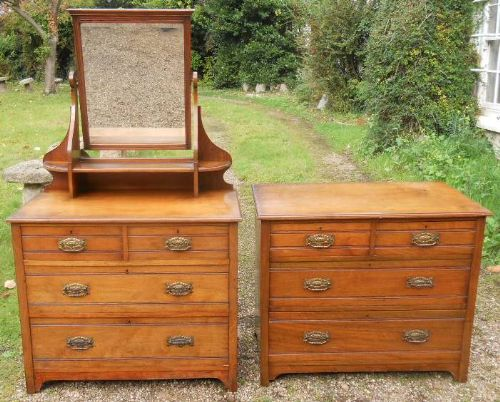 edwardian satin walnut dressing chest and chest of drawers