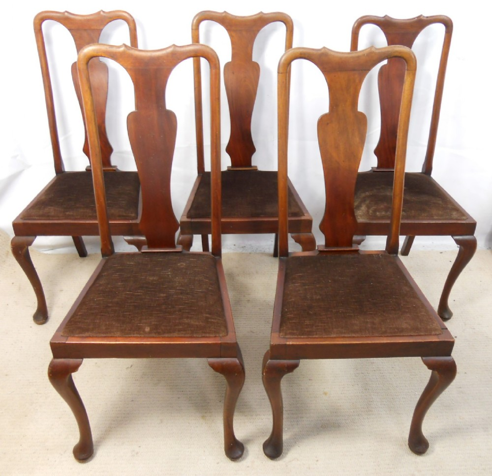 Set Of Five Queen Anne Style Mahogany Highback Dining
