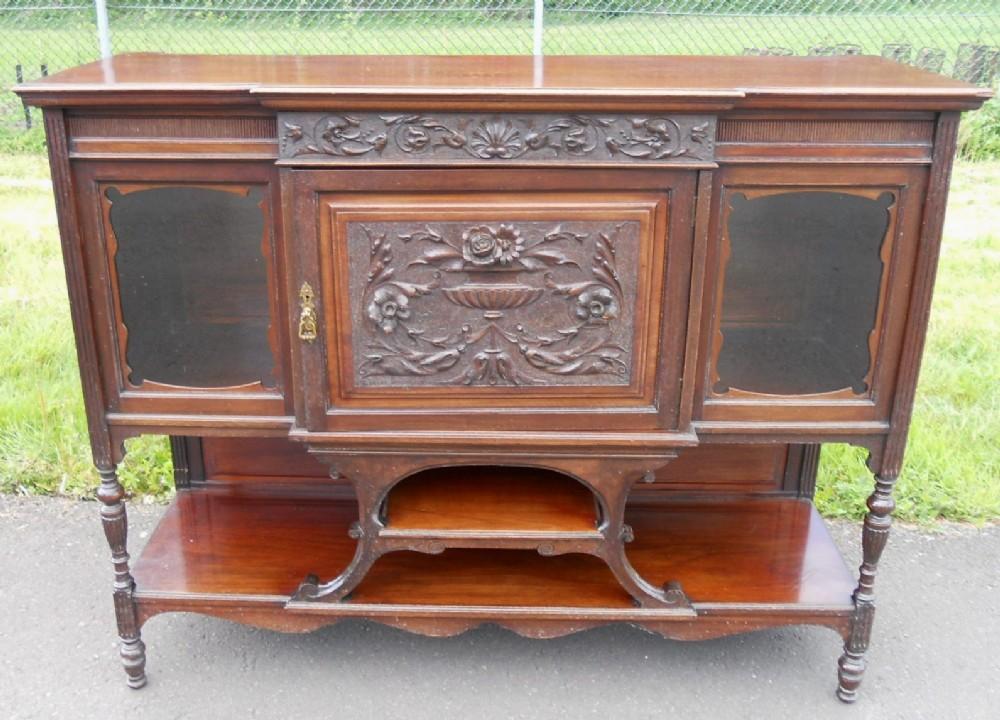 edwardian carved mahogany chiffonier sideboard
