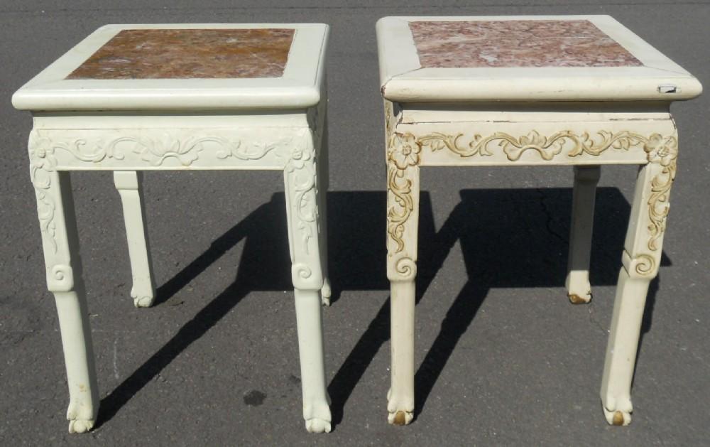 pair marble oriental painted hardwood plant stands