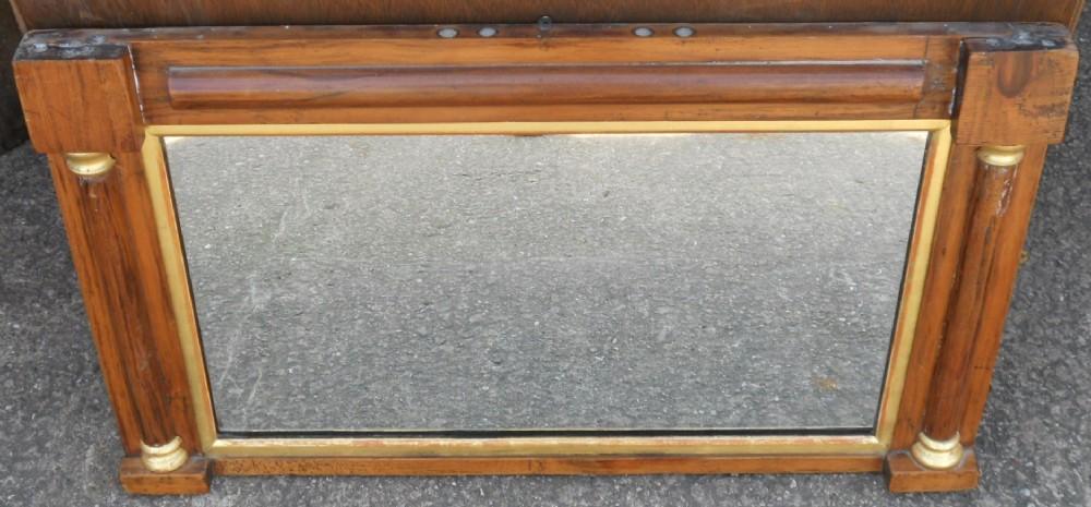 regency small walnut overmantel mirror