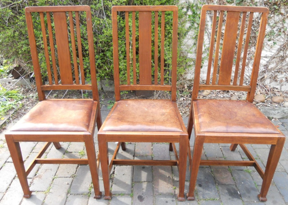 set of three highback mahogany dining chairs
