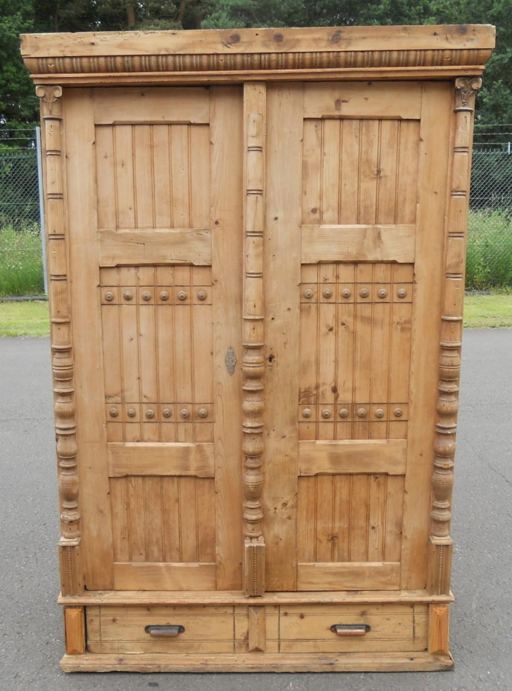 victorian pine two door cupboard wardrobe