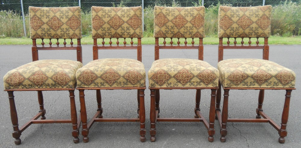 set of four edwardian walnut dining chairs