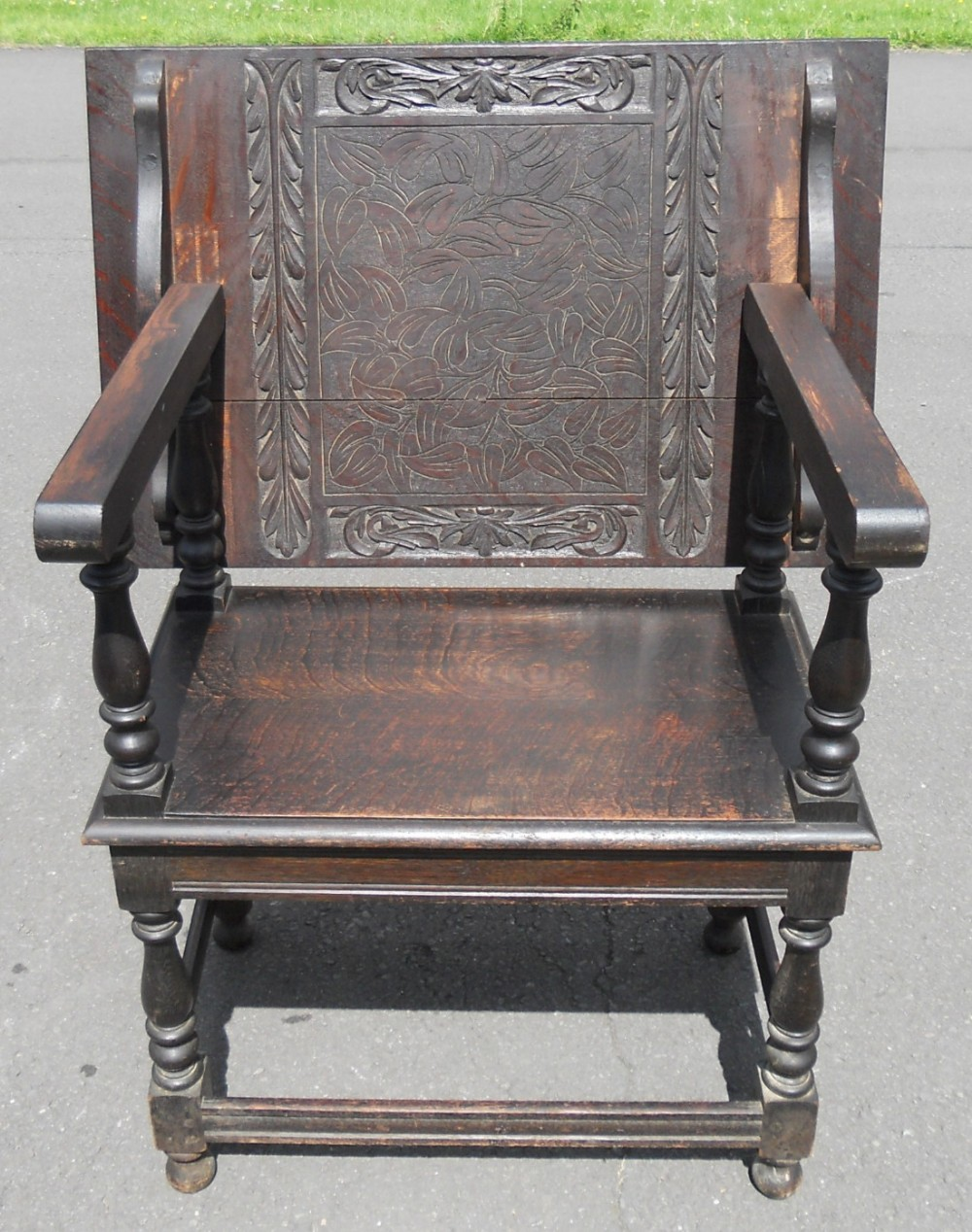 victorian carved oak monks seat bench