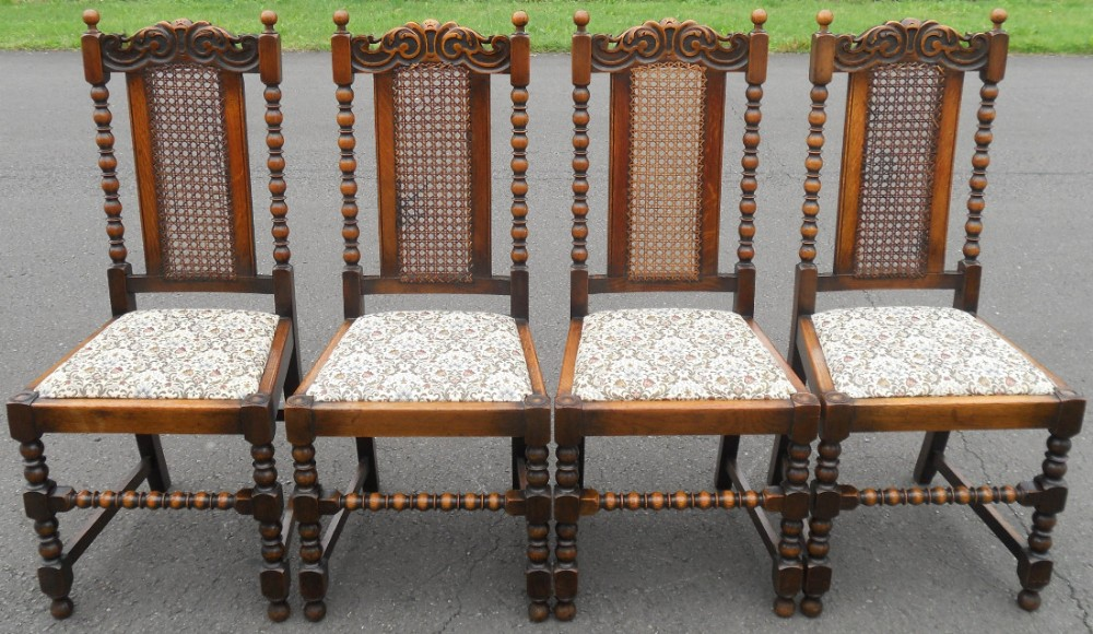 set of four oak highback dining chairs