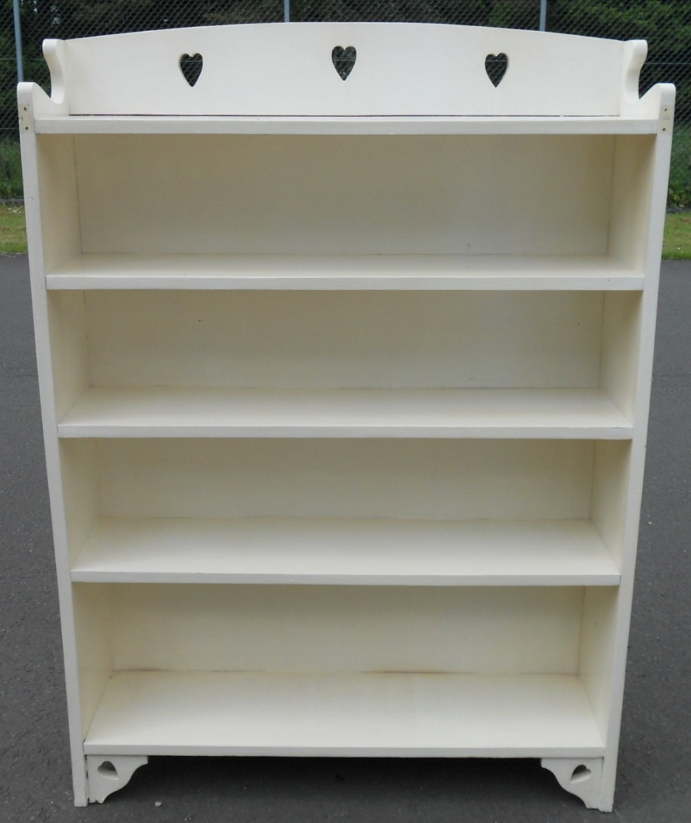 arts craft painted oak open bookcase