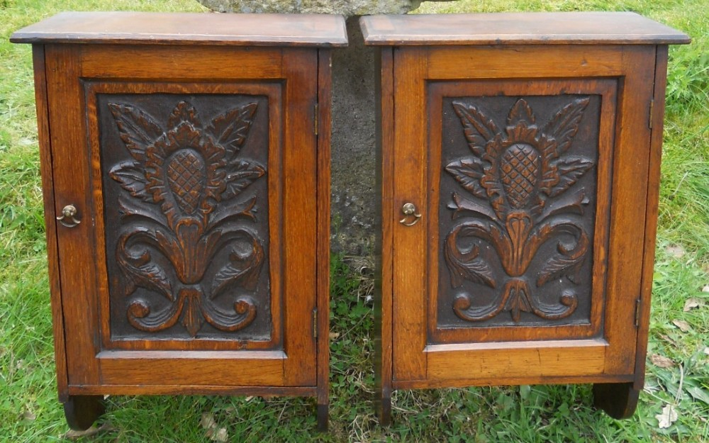 pair small victorian carved oak hanging wall cupboards