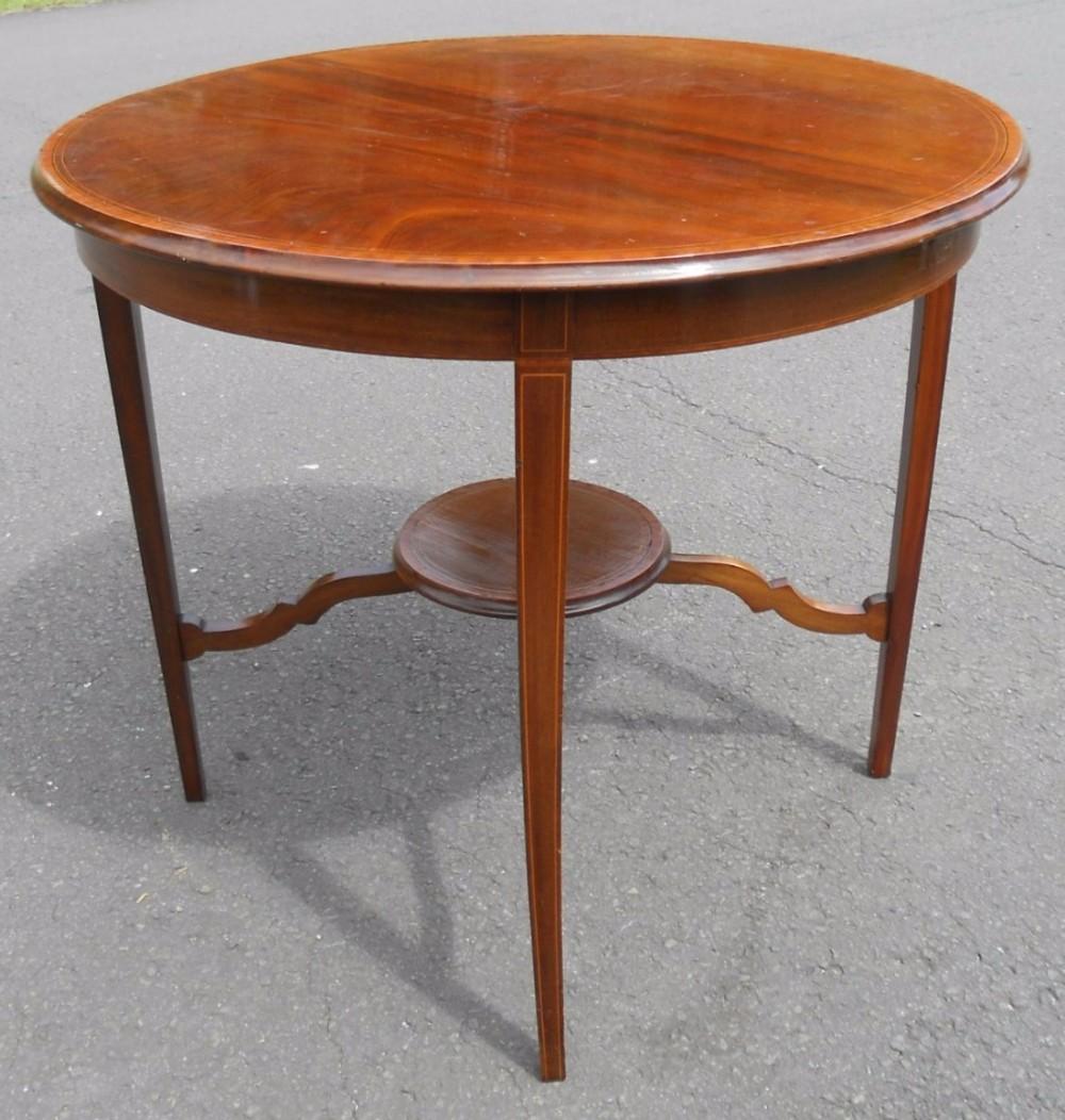 edwardian round inlaid mahogany centre table