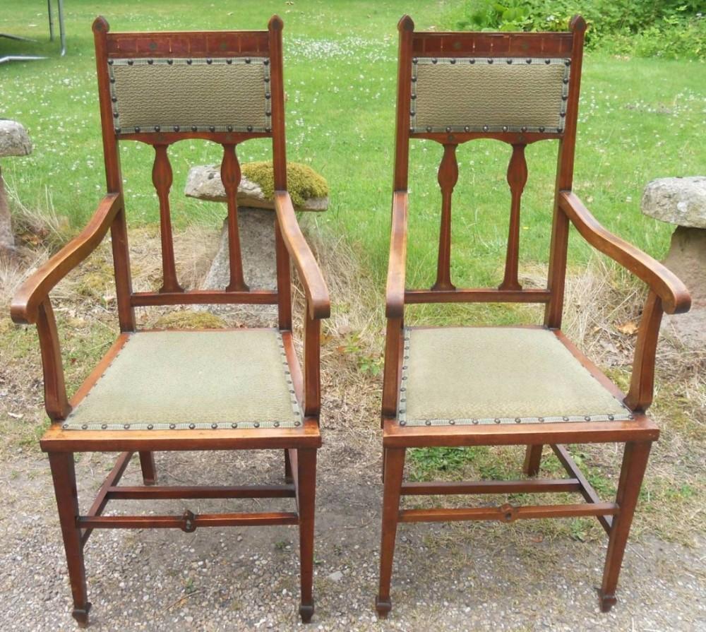 pair art nouveau mahogany salon carver armchairs