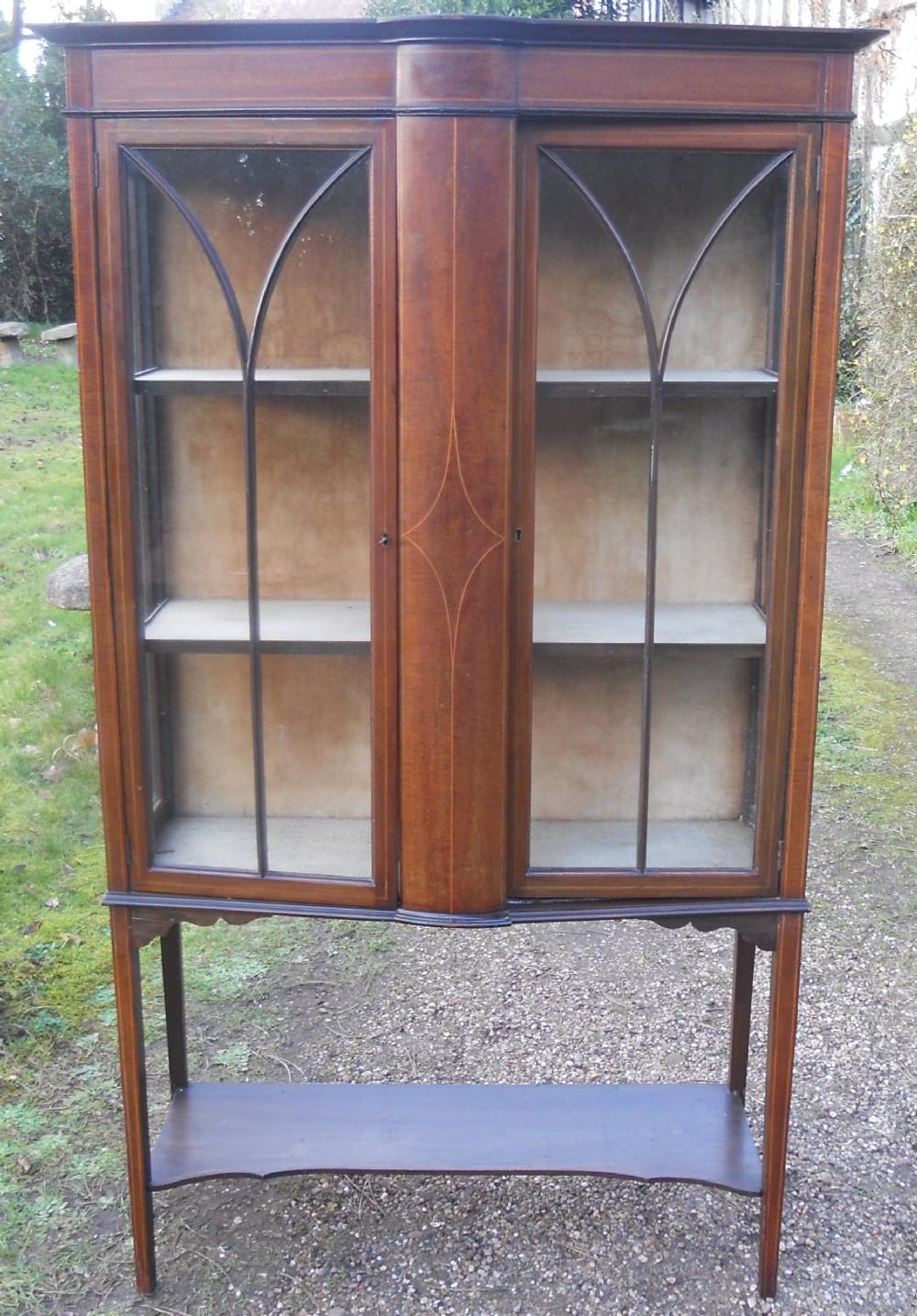 edwardian inlaid mahogany china display cabinet