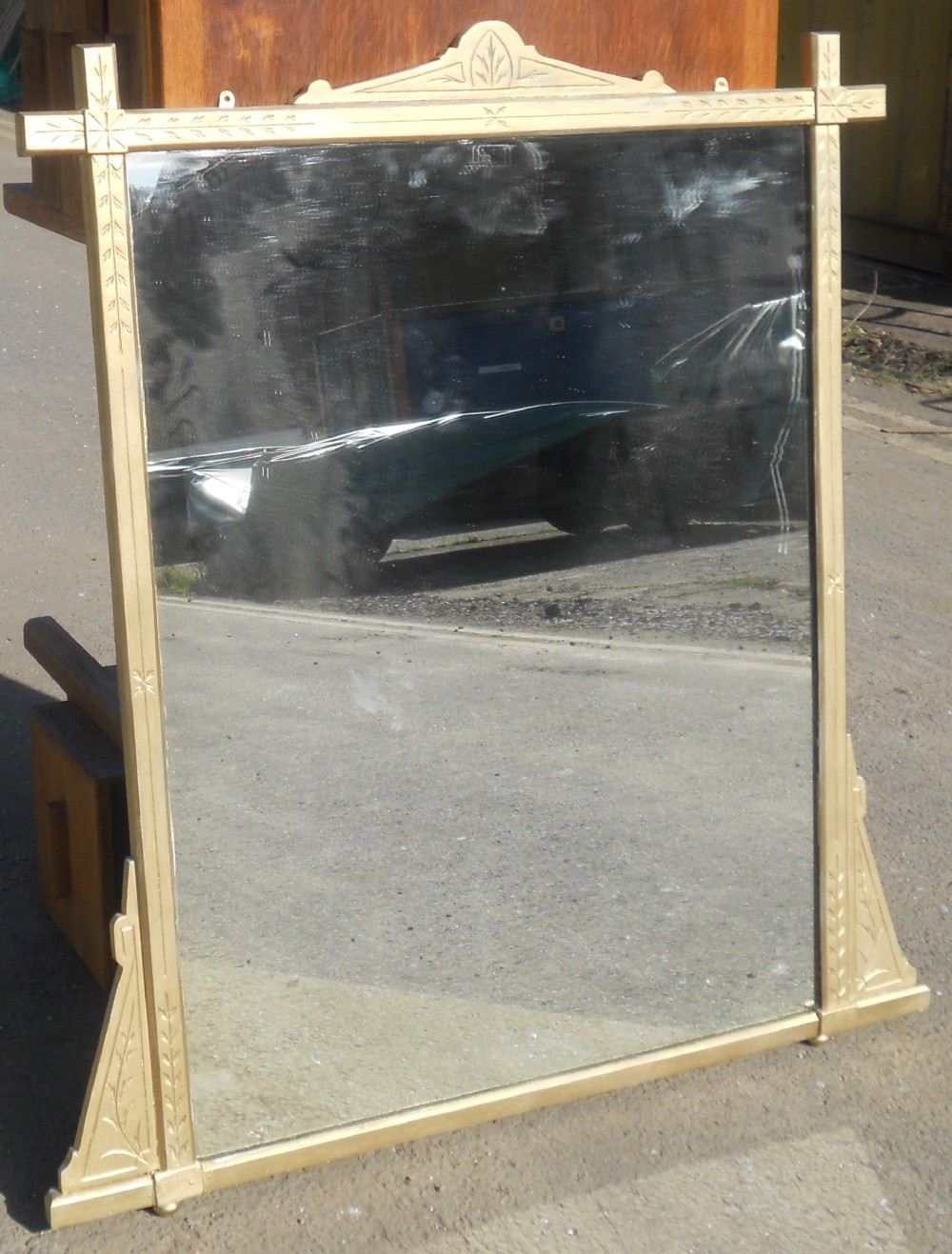 aesthetic movement large overmantel mirror