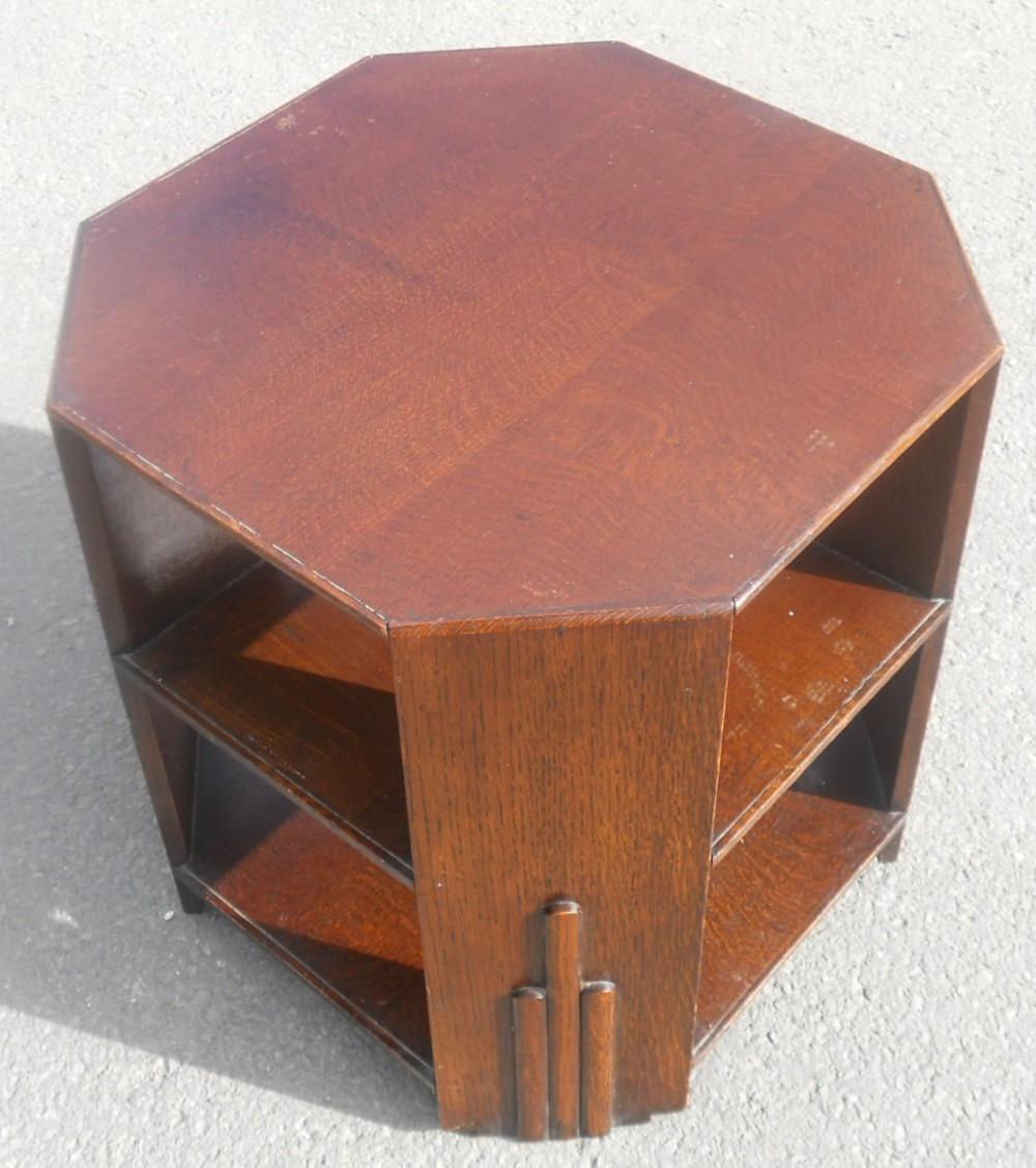 deco oak octagonal top coffee table