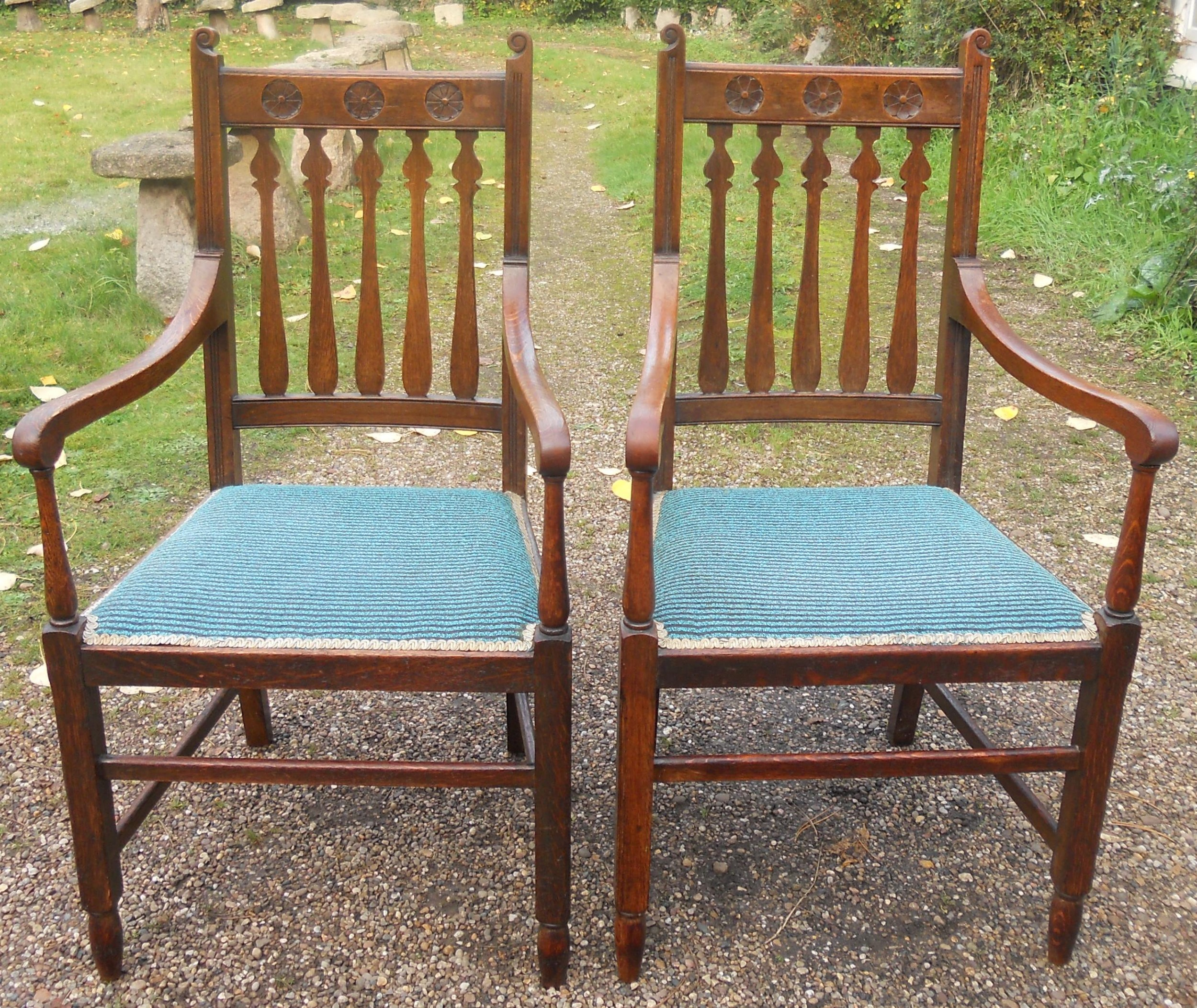 pair edwardian oak carver armchairs