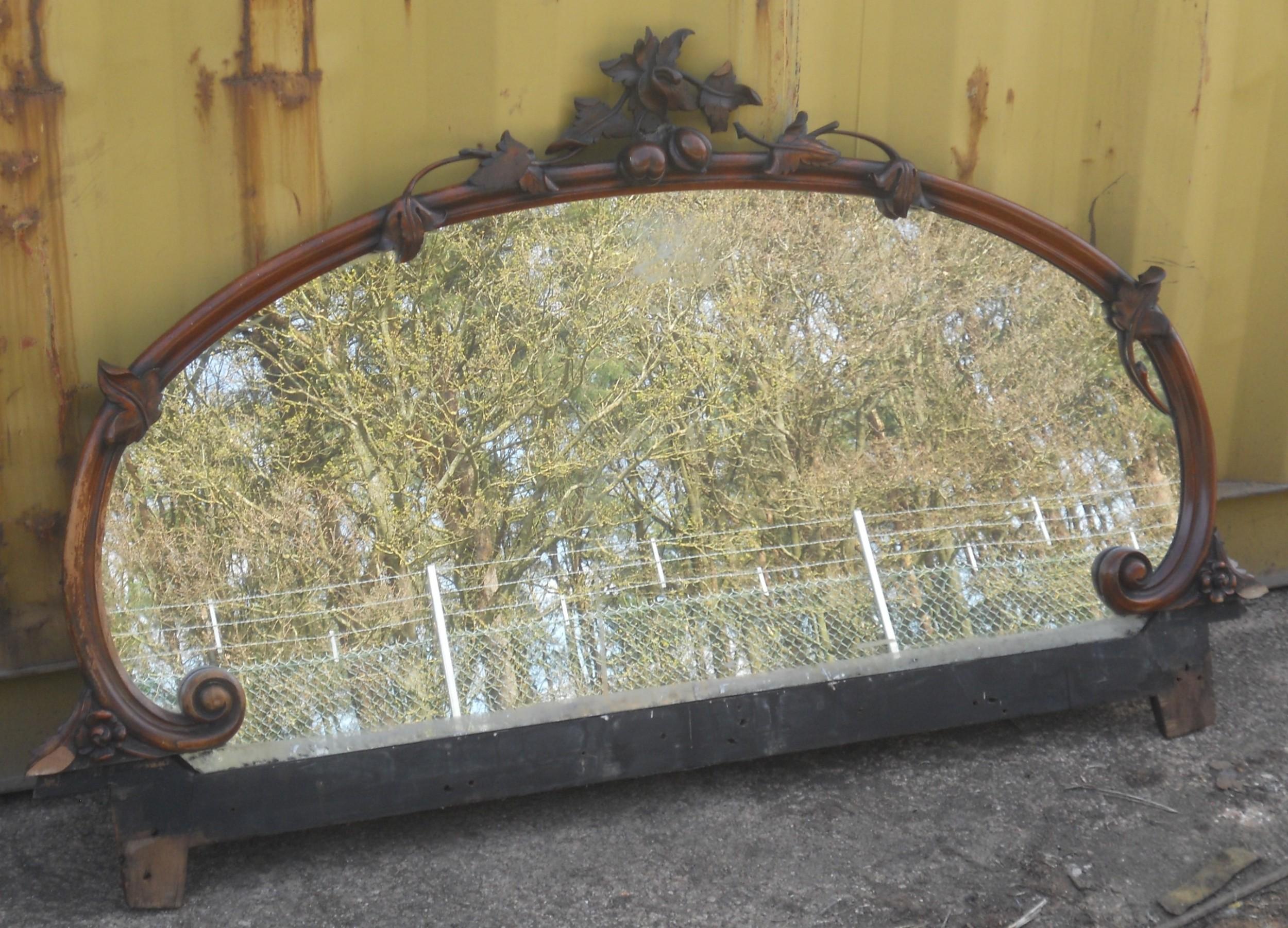 victorian carved walnut overmantel mirror