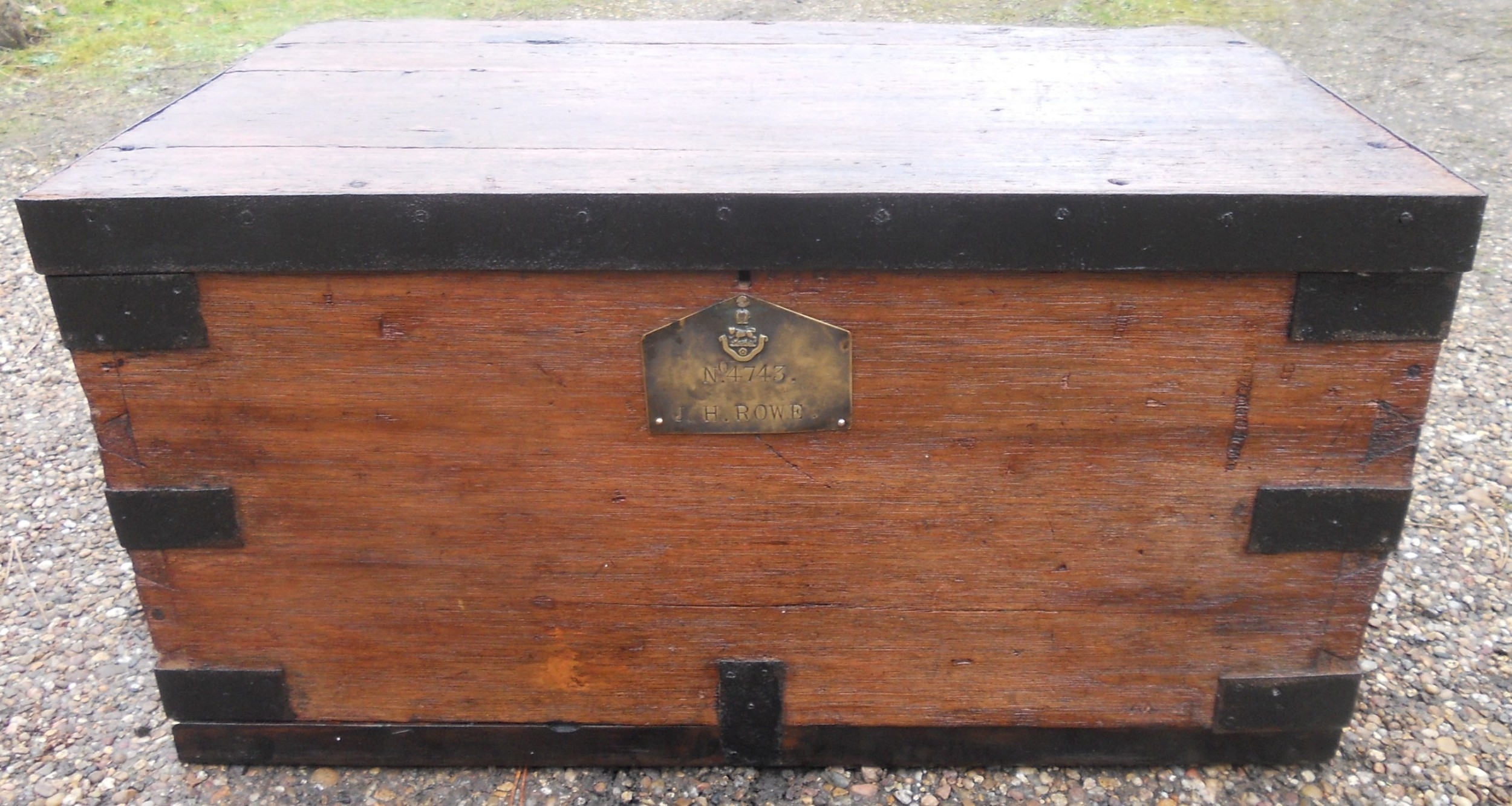 military metal bound wooden trunk