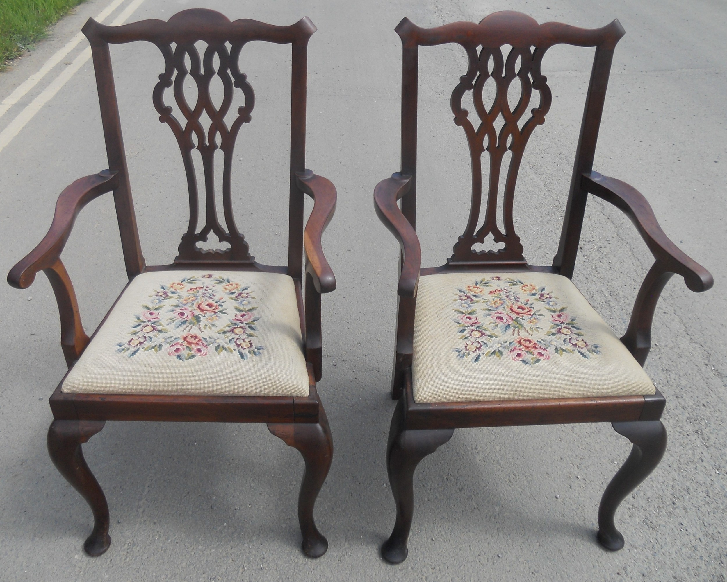 pair chippendale style mahogany carver armchairs