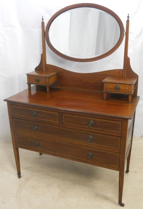 edwardian inlaid mahogany dressing table