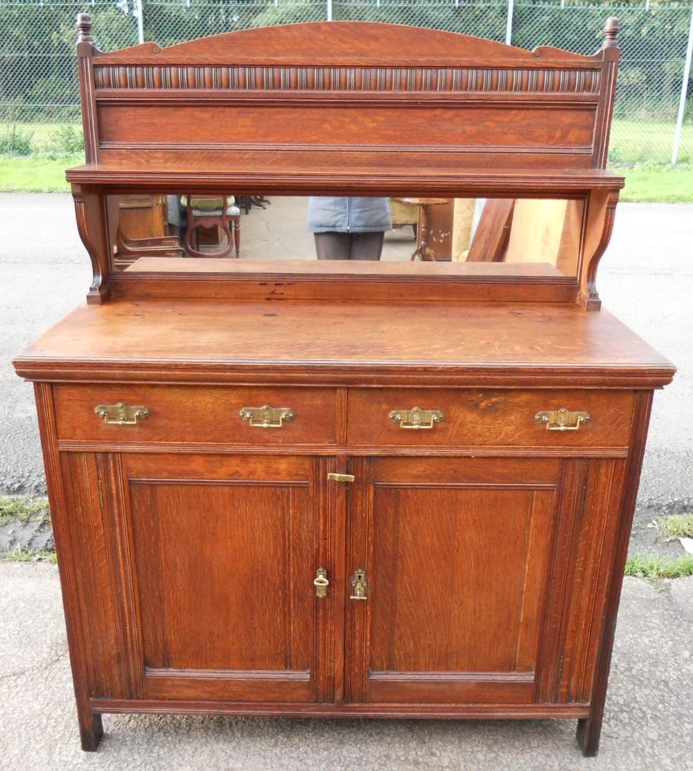 edwardian oak chiffonier sideboard 247784. Black Bedroom Furniture Sets. Home Design Ideas