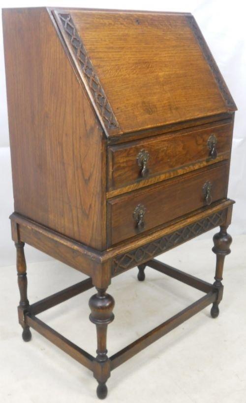 small carved oak writing bureau 80318. Black Bedroom Furniture Sets. Home Design Ideas