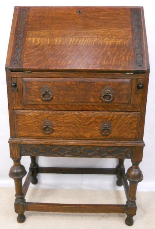 Small Oak 1920 S Carved Writing Bureau 160076
