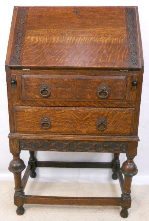 small oak 1920 39 s carved writing bureau 160076. Black Bedroom Furniture Sets. Home Design Ideas