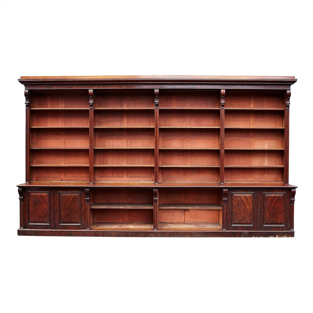 impressive irish mahogany library bookcase by r strahan co dublin