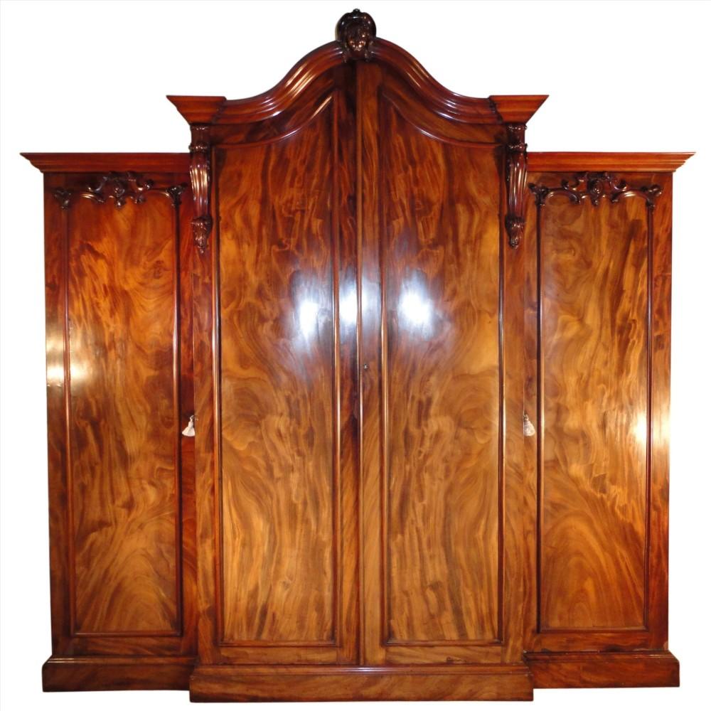 William Iv Mahogany Breakfront Wardrobe Possibly Irish 241813