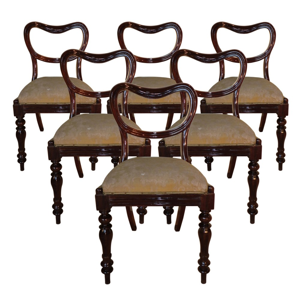 set of 6 late regency rosewood dining chairs